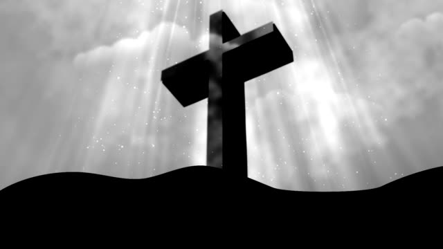 Worship Cross Rays Grey Loopable Background video