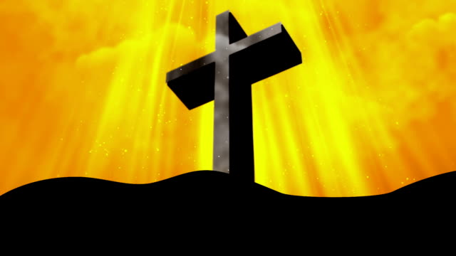 Worship Cross Rays Yellow Loopable Background video