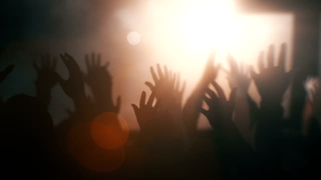 worship crowd with cross 1 - christianity stock videos & royalty-free footage