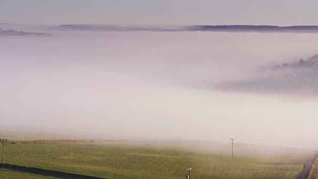 Worth Valley, West Yorkshire Blanketed in Fog - Drone Shot video