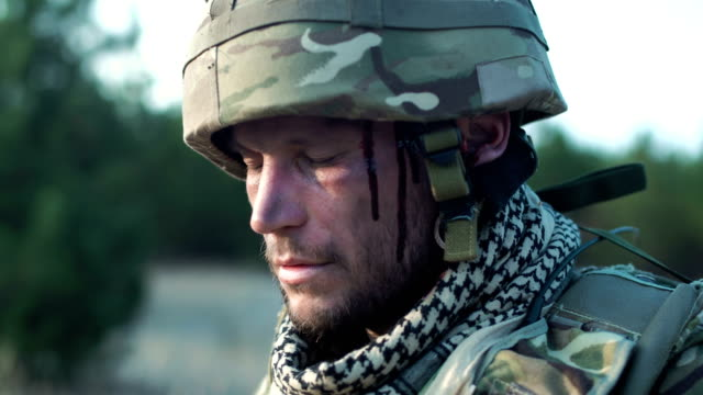 Wounded soldier in uniform video