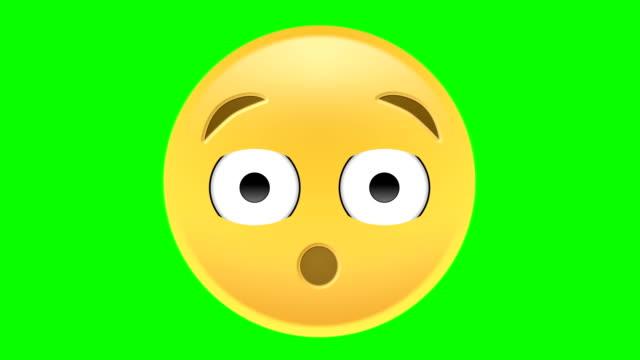 vídeos de stock, filmes e b-roll de uau emoji - estupefação