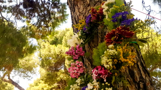 Wreath of flowers hanging from a tree on labour day in Greece. video