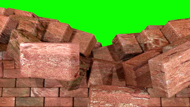 Wrecking red brick wall greenscreen loop