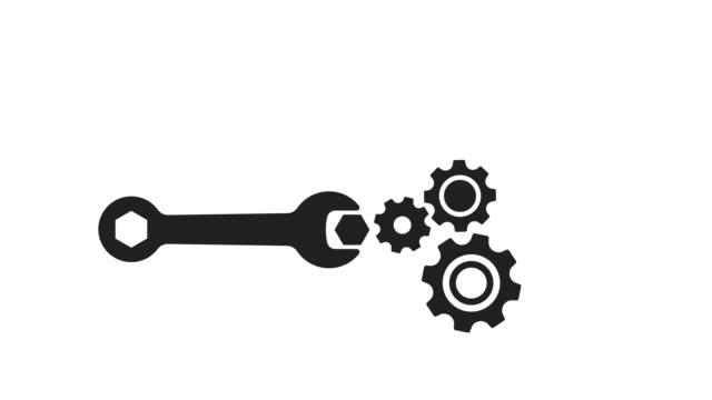 wrench and gear animation with optional luma matte. alpha luma matte included. 4k video - часть машины стоковые видео и кадры b-roll