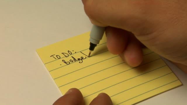 scrivere una lista di cose da fare - to do list video stock e b–roll
