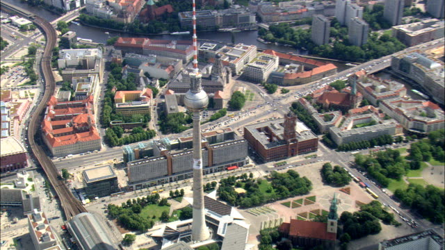Writing On Communications Tower  - Aerial View - Berlin,  Berlin,  Stadt,  Germany video