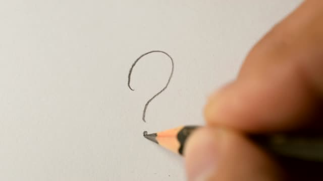 writing question mark with graphite pencil - question mark video stock e b–roll