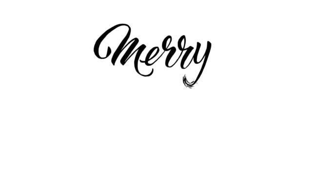 vídeos de stock e filmes b-roll de written  merry christmas calligraphy text animation - 2d animation - texto datilografado