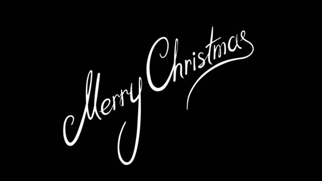 vídeos de stock e filmes b-roll de written merry merry christmas vintage calligraphy text isolated on alpha channel. lettering flourish elements. christmas holiday - texto datilografado