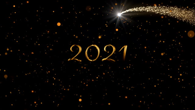 2021 written over glowing lights Animation of number 2021 written in gold over glowing moving lights and shooting star on black background happy new year 2021 stock videos & royalty-free footage