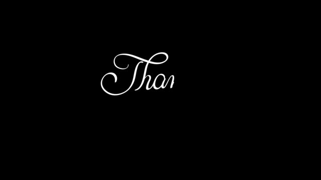 written thank you animation text with alpha channel. Hand drawn Calligraphy lettering illustration video
