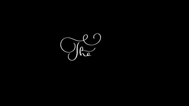 Written Thank you vintage text isolated on alpha channel. calligraphy and lettering flourish elements video