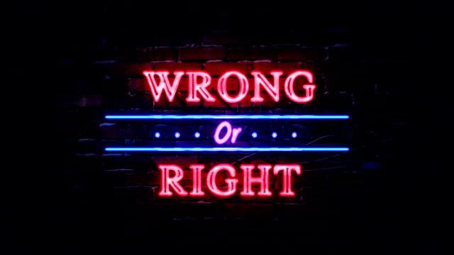 richtig oder falsch leuchtreklame - verantwortung stock-videos und b-roll-filmmaterial