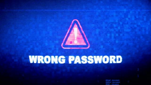 間違ったパスワードテキストデジタルノイズ twitch グリッチ歪み効果エラーループアニメーション。 - パスワード点の映像素材/bロール