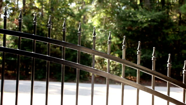 Wrought iron gate opening to the left. Home driveway. video