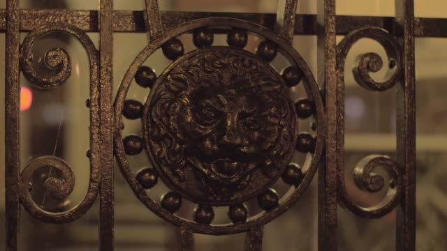 Wrought iron gates with lion head