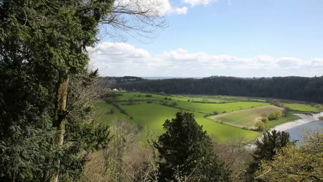 Wye valley view from Wyndcliff wood Chepstow Wales uk video