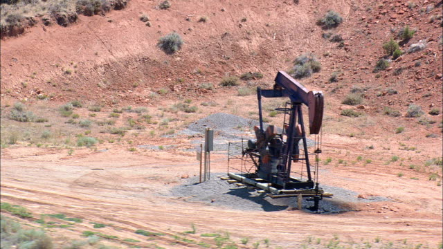 Wyoming Dallas Dome Oil Field  - Aerial View - Wyoming,  Fremont County,  helicopter filming,  aerial video,  cineflex,  establishing shot,  United States video