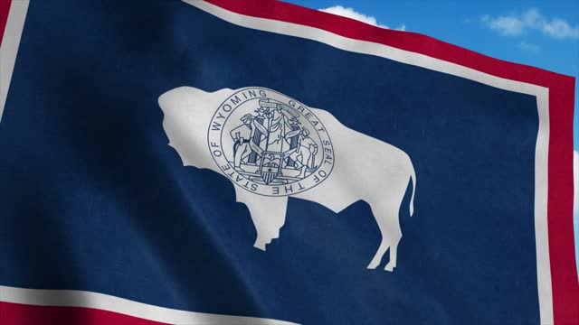 Wyoming flag waving in the wind, blue sky background. 4K