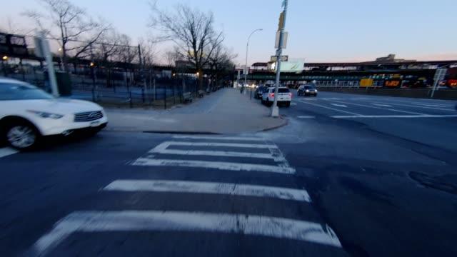 POV xiii Queens New York City Front bridge sunset winter video