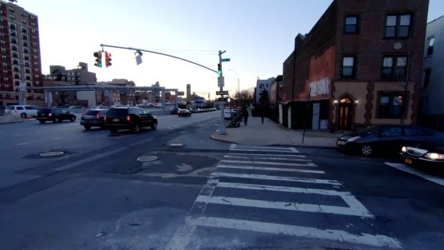 POV xiii Queens New York City Rear bridge sunset winter video