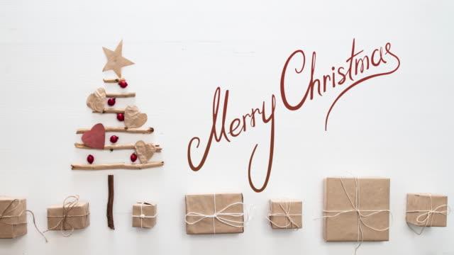 クリスマス ツリー ストップ モーション - グリーティングカード点の映像素材/bロール