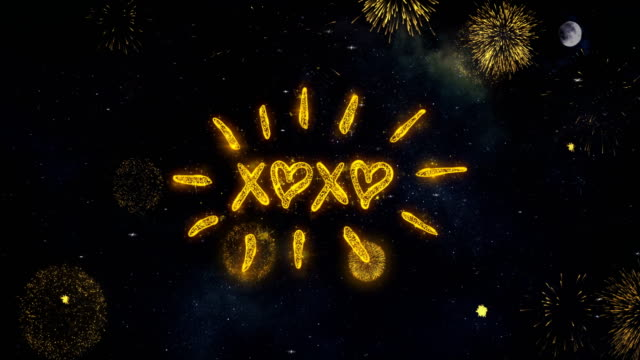xoxo Text Wishes Reveal From Firework Particles Greeting card.