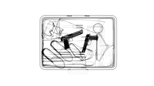 X-ray of suitcase with guns video