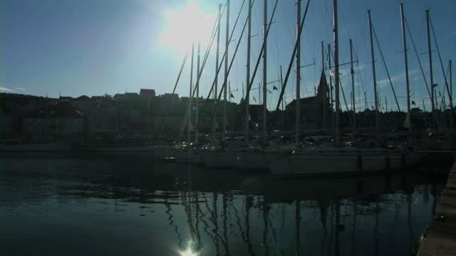 Yacht in marina video