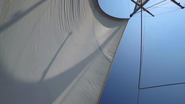 Yacht sail on a sunny day Large yacht sail blowing in the wind on a blue sky day sail stock videos & royalty-free footage