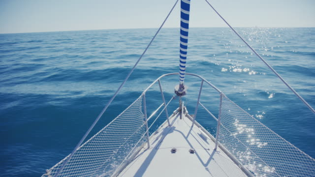 Yacht sailing boat bow during cruise video