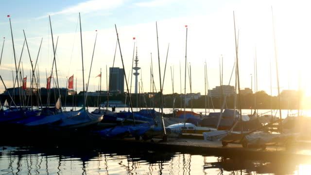 Yacht sea summer port sunset video