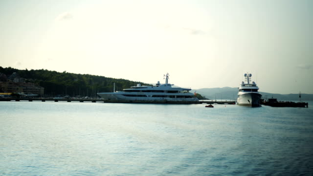 Yachts anchored in the harbor video