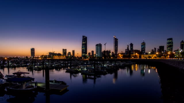 Yachts and boats at the Sharq Marina night to day timelapse in Kuwait. Kuwait City, Middle East video