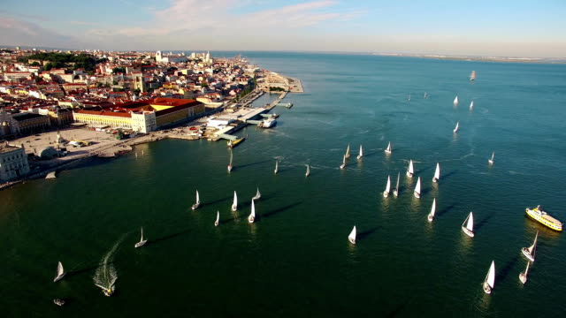 Yachts at the regatta in Tagus River near Commerce Square Lisbon Portugal video
