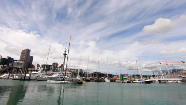 Yachts by Viaduct Harbour, Auckland, New Zealand video