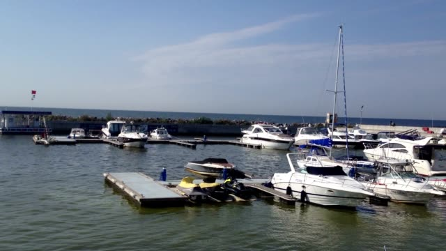 Yachts in marina video