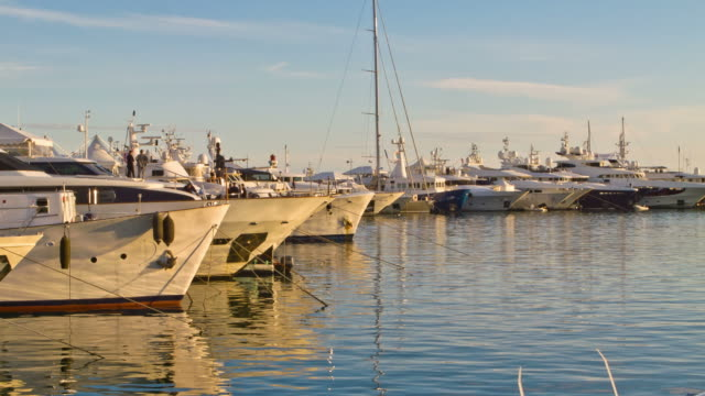 Yachts moored in a marina at Cannes, France video