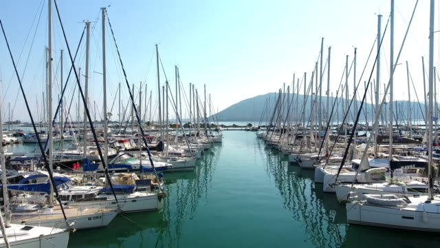 Yachts parking aerial view video