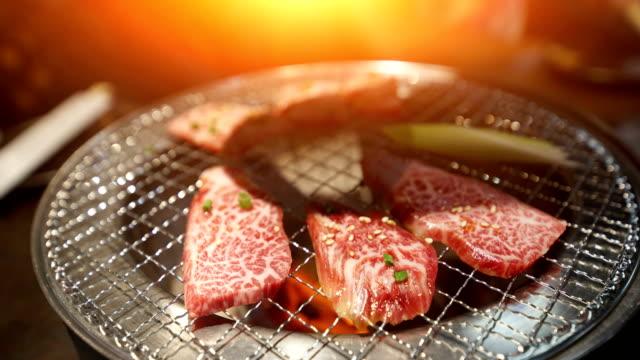 Yakiniku, Japanese beef grilled at Tokyo Japan. video