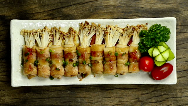 Yakitori Grilled Bacon and Golden Needle Mushroom Wrapped with Sauce teriyaki