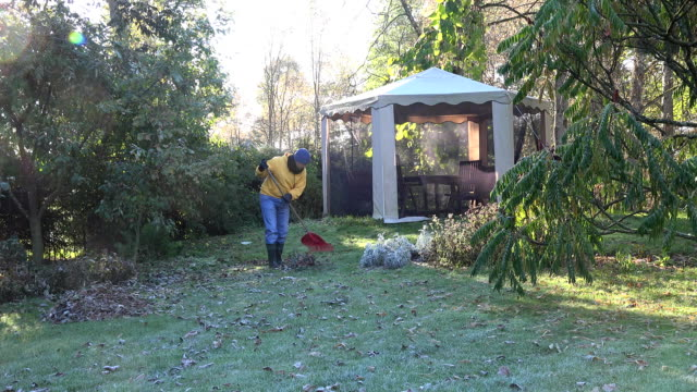 Yard keeper in yellow sweater rake leaves in garden at cold autumn morning FullHD video