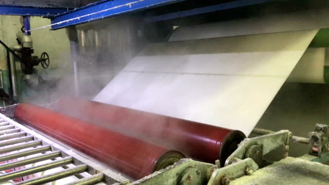 Yarn sizing machine in a textile factory video
