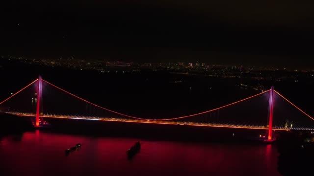 Yavuz Sultan Selim Köprüsü hava gece çekim video