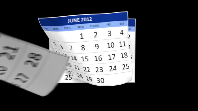 Year 2012 Calendar with alpha channel video
