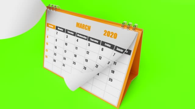 2020 Year Calendar On Green Background
