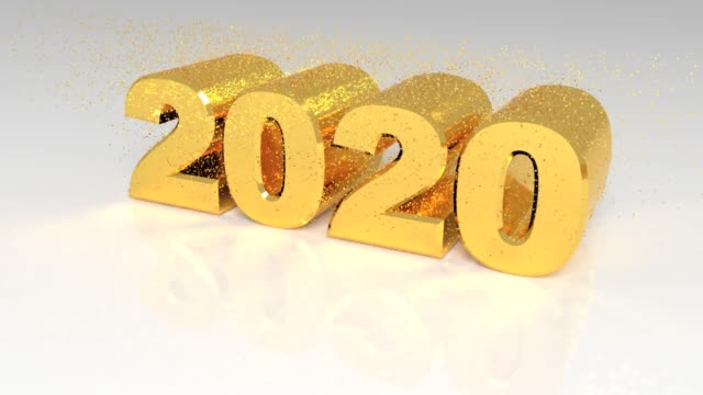 Year change from Twenty Nineteen to Twenty twenty with golden particles. New year change from 2019 to 2020 with golden particles. Birth of new year 2020 2020 stock videos & royalty-free footage