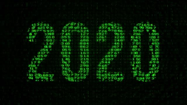 2020 yıl dijital veri kodu matris - www stok videoları ve detay görüntü çekimi