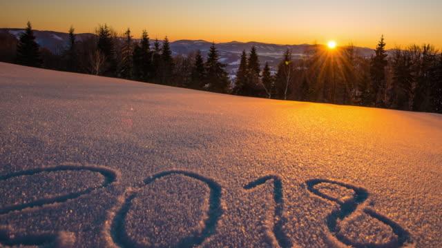 2018 year, sunrise winter mountain video